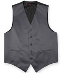 BRAND Q SATIN VEST SET (VEST, LONG TIE, HANKIE) - DARK GREY