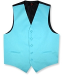 BRAND Q SATIN VEST SET (VEST, LONG TIE, HANKIE) - TEAL