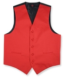 BRAND Q SATIN VEST SET (VEST, LONG TIE, HANKIE) - SCARLET RED