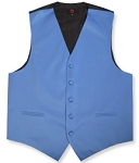 BRAND Q SATIN VEST SET (VEST, LONG TIE, HANKIE) - PERI BLUE