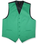 BRAND Q SATIN VEST SET (VEST, LONG TIE, HANKIE) - EMERALD