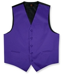 DARK PURPLE BRAND Q SATIN VEST SET (VEST, LONG TIE, HANKIE)