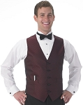 """DIAMOND LEAF"" MEN'S BURGUNDY TUXEDO VEST"