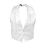 WHITE LUXURY SATIN LOW CUT BACKLESS LAPELED VEST