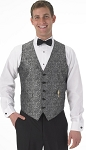 SEGAL SILVER PAISLEY FULL BACK VEST - MEN'S