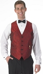 """IMPERIAL PAISLEY"" MEN'S RED TUXEDO VEST"