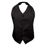 """LUXURY SATINS"" HIGH CUT BACKLESS BLACK TUXEDO VEST"