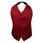 LUXURY SATIN HIGH CUT BACKLESS VEST - RED