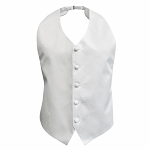 LUXURY SATIN HIGH CUT BACKLESS VEST - WHITE