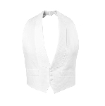 WHITE DELUXE PIQUE BACKLESS VEST W/ REAL POCKETS