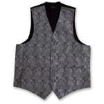 SILVER PAISLEY VEST TIE HANKIE AND BOW COMBO - SLIM FIT