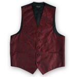 BURGUNDY PAISLEY VEST TIE HANKIE AND BOW COMBO - SLIM FIT