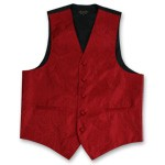 RED PAISLEY VEST TIE HANKIE AND BOW COMBO - SLIM FIT
