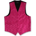 FUSHIA PAISLEY VEST TIE HANKIE AND BOW COMBO - SLIM FIT
