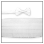 PREMIER SATIN CUMMERBUND & BOW TIE SET - WHITE