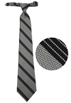 TRADITIONAL SILVER WITH BLACK STRIPE WINDSOR TIE - PRE TIED