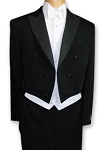 BUDGET BLACK PEAK LAPEL FULL DRESS TAIL  JACKET & PANTS SET - MEN'S CLOSEOUT