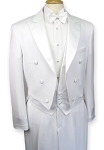 BUDGET WHITE FULL DRESS PEAK LAPEL TAIL  JACKET & PANTS SET - MEN'S CLOSEOUT