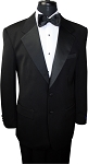 BUDGET BLACK 2 BUTTON NOTCH LAPEL TUXEDO JACKET & PANTS SET - MEN'S CLOSEOUT
