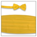PREMIER SATIN CUMMERBUND & BOW TIE SET - YELLOW GOLD