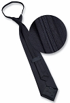 BLACK ZIPPER TIE - SATIN