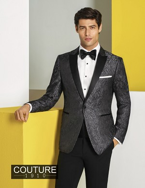 "COUTURE 1910 ""CHASE"" CHARCOAL PAISLEY ""SLIM FIT"" PEAK TUXEDO JACKET - MEN'S"