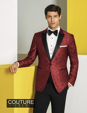 "COUTURE 1910 ""CHASE"" RED PAISLEY ""SLIM FIT"" PEAK TUXEDO JACKET - MEN'S"