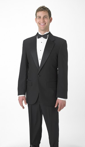 SEGAL BLACK DURAWEAR NOTCH TUXEDO w/ ADJUSTABLE WAIST PANTS