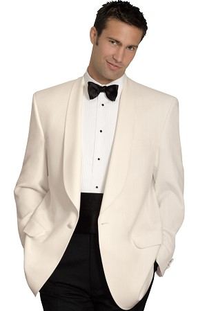 NEIL ALLYN IVORY POLYESTER SHAWL LAPEL DINNER JACKET