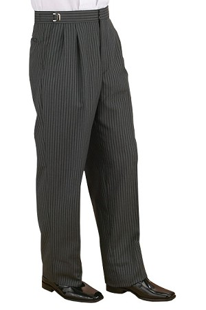 NEIL ALLYN TRADITIONAL HICKORY STRIPE PLEATED ADJUSTABLE PANTS