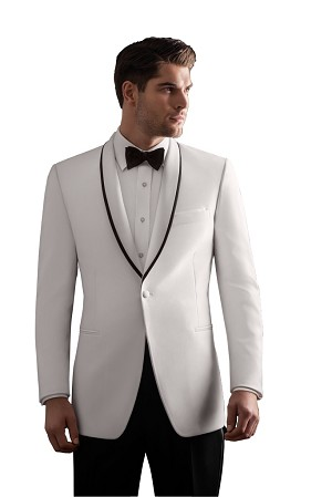 "IKE BEHAR WHITE ""WAVERLY"" SHAWL LAPEL DINNER JACKET - SLIM FIT"