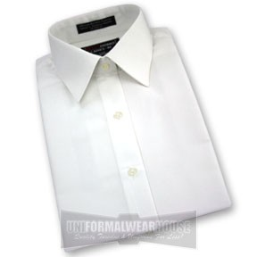 WHITE MICRO LAY DOWN COLLAR DRESS SHIRT - WOMEN'S