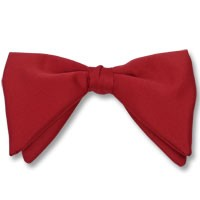 RED CLASSIC POLY SATIN TEAR DROP CLIP ON BOW TIE