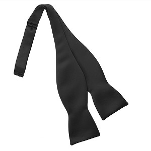 BLACK LUXURY SATIN TIE TO TIE SELF BOW TIE