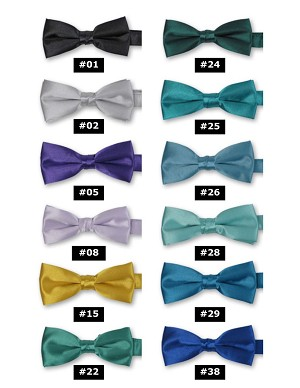 DELUXE SATIN BOW TIES - ASSORTED COLORS CLOSEOUT
