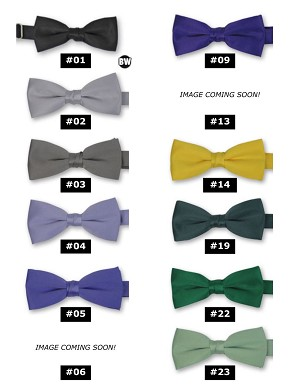 BOY'S CLASSIC POLY SATIN BOW TIES - ASSORTED COLORS CLOSEOUT
