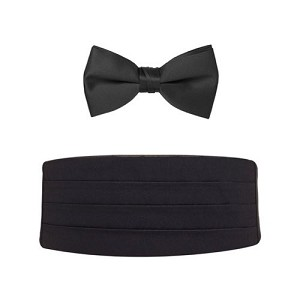 NEIL ALLYN BIG & TALL CUMMERBUND & BOW TIE SET - BLACK