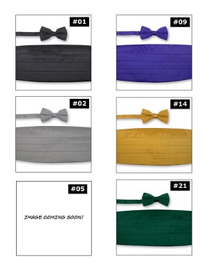 PREMIER SATIN CUMMERBUND & BOW TIE SET - ASSORTED COLORS