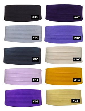 LUXURY SATIN CUMMERBUND - ASSORTED COLORS