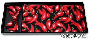 HOT CHILLI PEPPERS CUMMERBUND & BOW TIE SET
