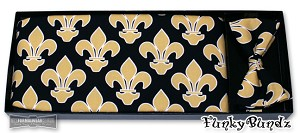 BLACK/GOLD SAINTS FLEUR DE LIS 2 CUMMERBUND & BOW TIE SET - CLOSEOUT