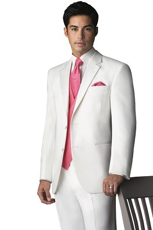 "LORD WEST ""DENVER"" WHITE POLYESTER 2 BUTTON TUXEDO JACKET - CLOSEOUT"