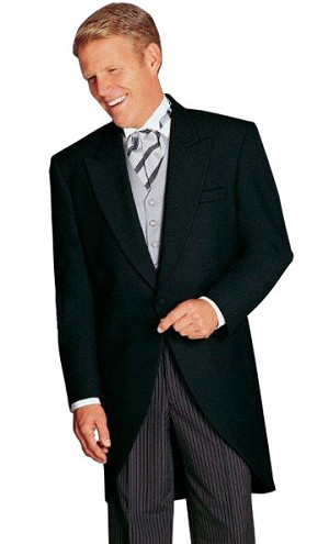 "BLACK ""ESSEX"" PEAK LAPEL CUTAWAY JACKET - MEN'S"