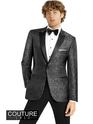 "COUTURE 1910 CHARCOAL""CHASE"" PAISLEY PEAK TUXEDO JACKET - SLIM FIT"