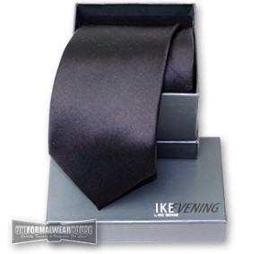 IKE BEHAR BLACK FINE SILK 4-IN-HAND STRAIGHT TIE