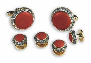 RED ENAMEL W/ CRYSTAL SURROUND CUFF LINK & STUD SET