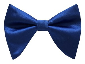 ROYAL BLUE BRAND Q LONG SATIN BOW TIE & POCKET SQUARE / HANKIE SET