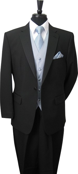 NEIL ALLYN BLACK COMFORT POLYESTER NOTCH TUXEDO PACKAGE - SLIM FIT w / BRAND Q SATIN VEST