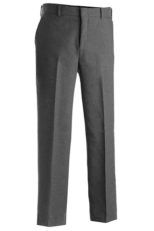 EDWARDS HEATHER GREY POLYESTER FLAT FRONT DRESS PANT - MEN'S