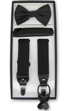 BRAND Q CONVERTIBLE SUSPENDER BOW TIE AND POCKET SQUARE / HANKIE SET - BLACK